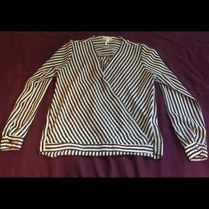 Sheer Black & White Striped Long Sleeve Blouse